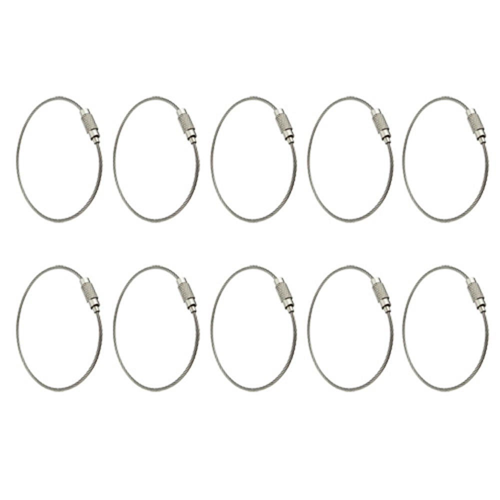 FJS! 10pcs Stainless Steel Screw Locking Wire Keychain Cable<br><br>Aliexpress