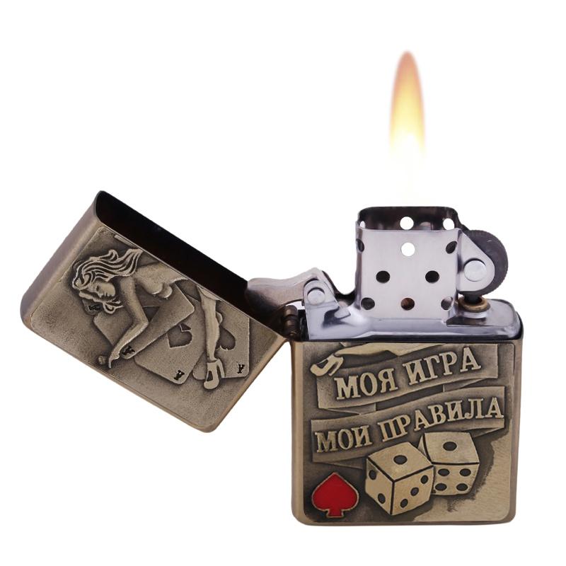 Charm stars brand cigar lighter metal gasoline lighter cigarette lighter for men wedding event supplies of Russian letter(China (Mainland))