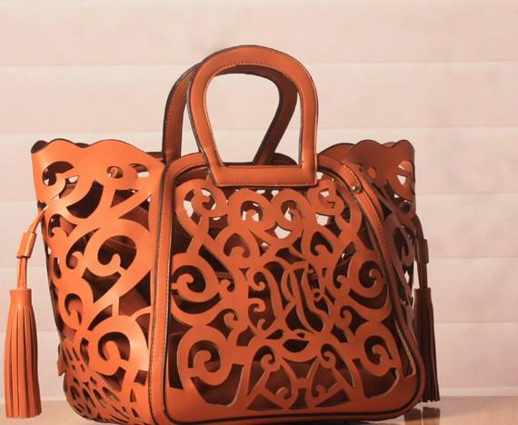 15pcs/lot fedex fast fashion women PU leather handbags Classic Elegance hollow out handbag messenger bag totes gold/orange(China (Mainland))