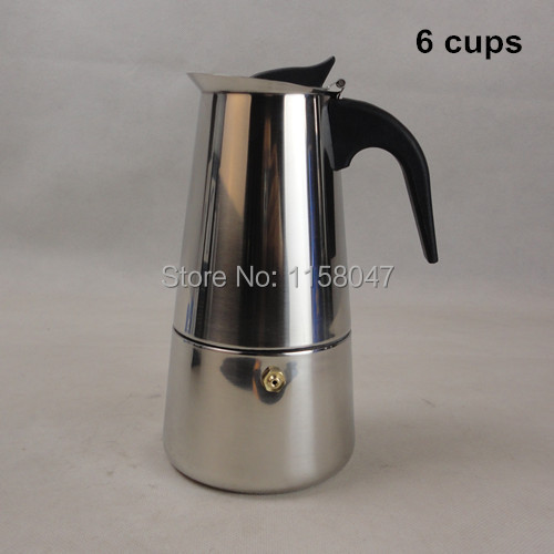 1pc 6 Cup 300ml Stainless Steel Moka Espresso Latte Percolator Stove Top Coffee Maker Pot(China (Mainland))