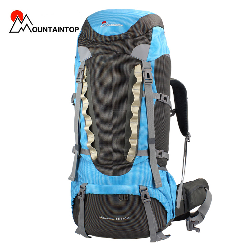 Фотография 55+10l Internal Frame Long Haul Climbing Bag CR Carrying System Polyester Material Unisex Travel Camping Outdoor Sport Backpack