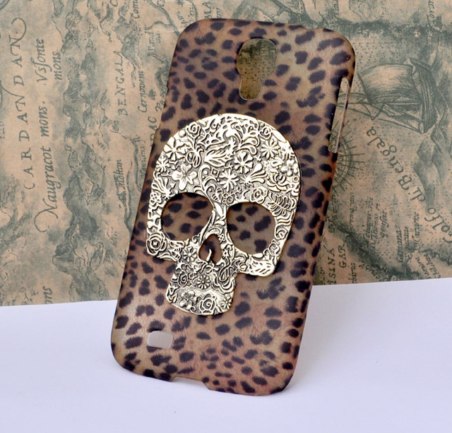 The leopard pattern protective case for Samsung Galaxy S4  i9500 hard cover with bronze skull handmade [JCZL DIY Shop]