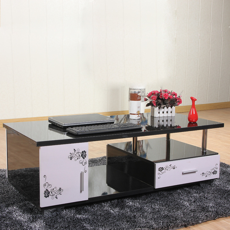 Small Tempered Glass Coffee Table: Tempered Glass Coffee Table In Black And White Paint