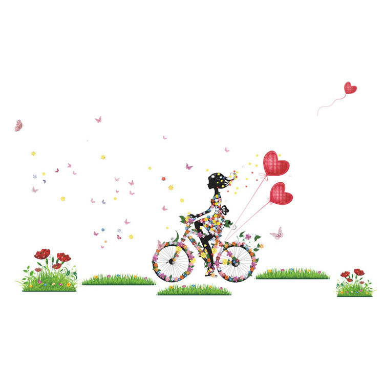 Drop Shipping 2016 Butterfly Girls Flowers Bike Removable Wall Sticker Vinyl Decal Mural Home Decor(China (Mainland))