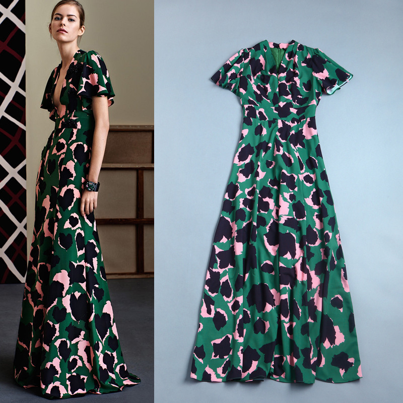 2015 Spring Summer Runway new fashion women's camouflage printing lotus short sleeve V-neck long maxi casual blue green dress - Fair Lady Fashion Collections Store store