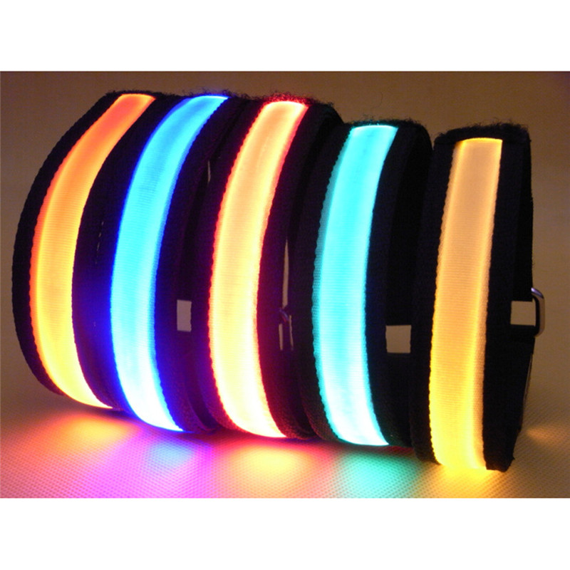 Color LED light wristband/ luminous bracelets/ nocturnal band running security arm band fluorescence Switch Control(China (Mainland))