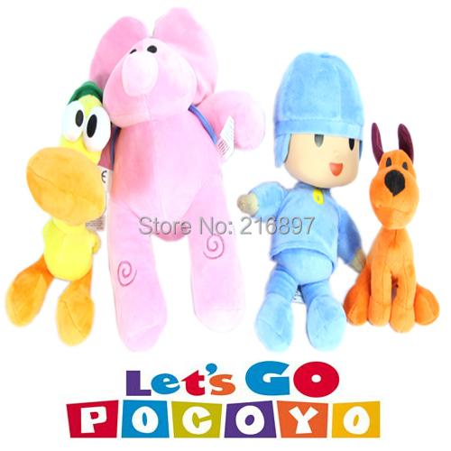 4pcs/lot Full Set POCOYO Cartoon Stuffed Animals & Plush Toys Hobbies Loula & Elly & Pato & POCOYO plush toy(China (Mainland))