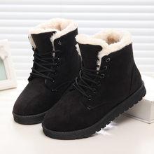 Frauen Winter Schnee Stiefel Warme Flache Plus Größe Plattform Lace Up Damen frauen Schuhe 2019 Neue Herde Pelz Wildleder stiefeletten Weibliche(China)