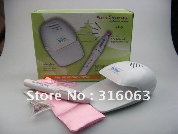 Free Shipping - 2in1 Portable Toe Nail Art Polish Dryer Blower with Battery Grooming Drill Pen NA995