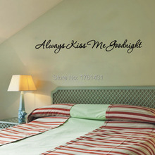 Free shipping: Love Always Kiss Me Goodnight Wall Decal Quote Sticker Vinyl Art Lettering wall stikcers(China (Mainland))