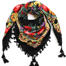 2016 Hot Sale Autumn Winter Fashion Ladies Tassels Big Square Scarf Floral design Women Brand shawl 15 colors 90X90cm(China (Mainland))