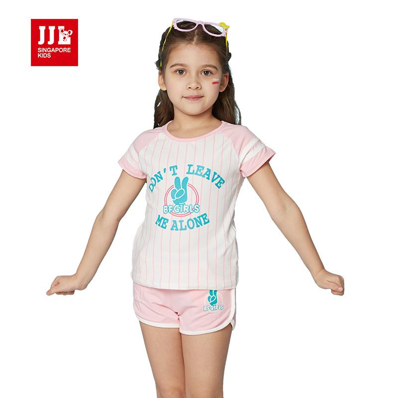 jjlkids 2016 girls clothing set kids clothes suit children short striped T-shirts+short children's sport suit kids set(China (Mainland))