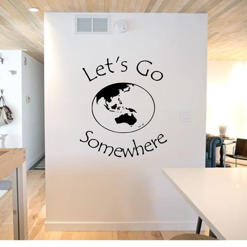 lets go somewhere wall stickers earth planet home decor living room wall decals removable vinyl adhesive travel stickers
