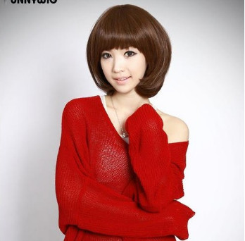 best black short synthetic bobo hair wigs bangs sales women - HONGYAN JUST DO IT! store