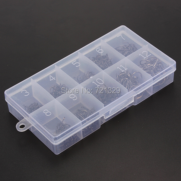 Fishhooks Black 500pcs Total 10 Sizes Fresh Water Sea Fly Fish Fishing Tackle Hooks with Box(China (Mainland))