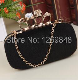 Free Shipping,Hot Sale Diamond Finger Ring Shining Evening Bags,Classic Luxury Rabbit Fur Clutch Handbag For wedding,Party(China (Mainland))