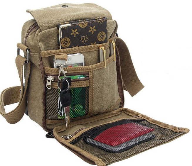Charm canvas bags 2015 men's travel bag canvas men messenger bag brand mini size men's bag luxary vintage style briefcase w304(China (Mainland))