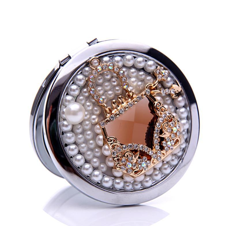 10 pcs lot rhinestone luxury gem sachet make up mirror for Wholesale mirrors