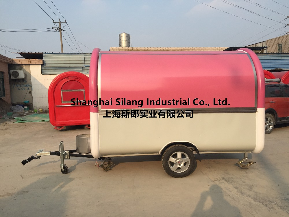 Pink and white food cart 7.6*5.5ft food truck hot dog Hamburger ice cream traction cart Beach music festival drinks trailer(China (Mainland))