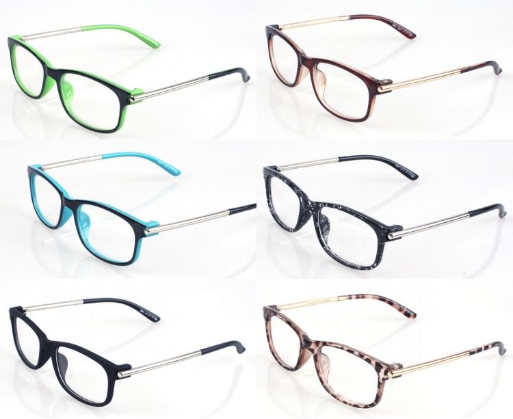 preppy style fashion metal foot plain glasses women & men elegant double color design plain glasses 6 colors oculos 8041(China (Mainland))