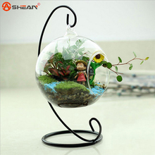 New Hot Clear Glass Round with 1 Hole Flower Plant Hanging Vase Hydroponic Home Office Wedding Decor(China (Mainland))