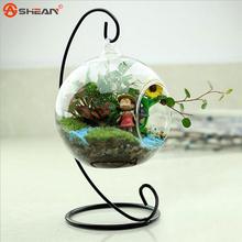 Nueva caliente redondo claro Glass con 1 hoyos flor planta hidropónicos florero colgante de oficina en casa decoración de la boda(China (Mainland))