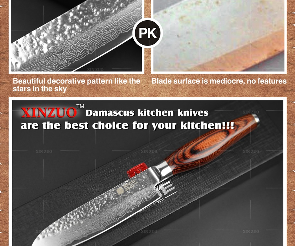 "Buy XINZUO 5 "" japanese chef knife Japanese Damascus kitchen knife VG10 santoku knife fruit knife color wood handle free shipping cheap"
