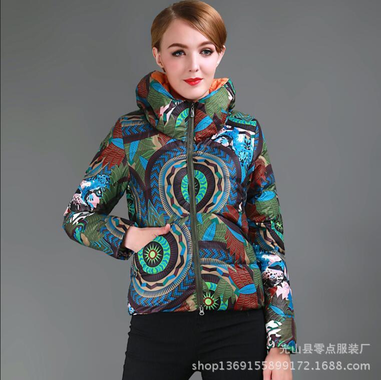 New Korean causel National wind printing short down jacket coat women winter short big size S-XXL thicken cotton-padded coat Одежда и ак�е��уары<br><br><br>Aliexpress