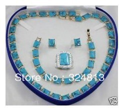 bridal Woman's Jewellery Turquoise necklace bracelet ring earring set Ladies(China (Mainland))
