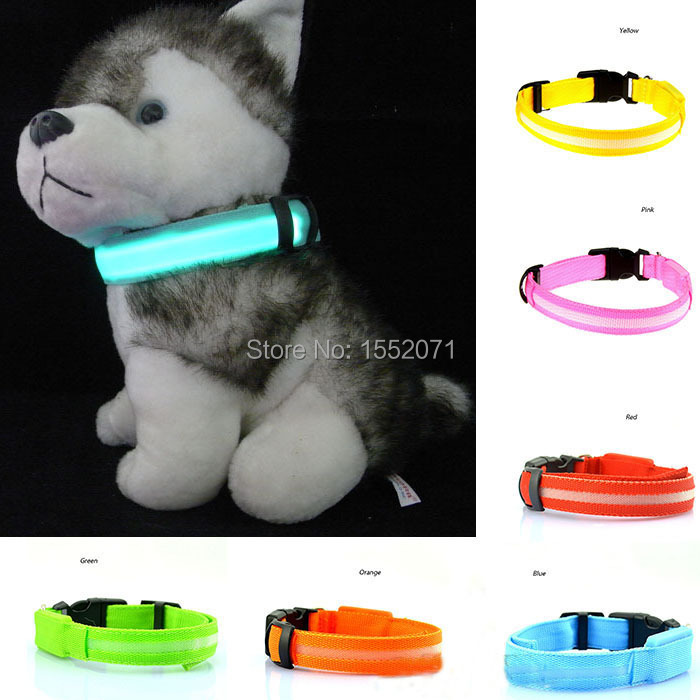 Dog Harness Cool LED Fashing Light Up Dog Collar Polyester Electric Training Collars Necklace Products for Dog Pets(China (Mainland))