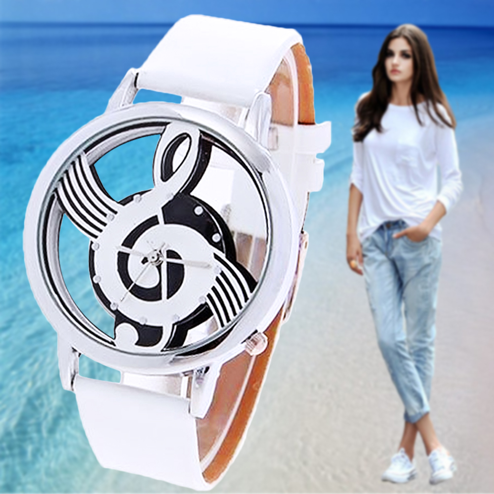 Гаджет  Hot 2015 Unisex Fashion Watches women Musical Notation PU Leather Strap Quartz Analog Wristwatch White unique brithday gift None Ювелирные изделия и часы