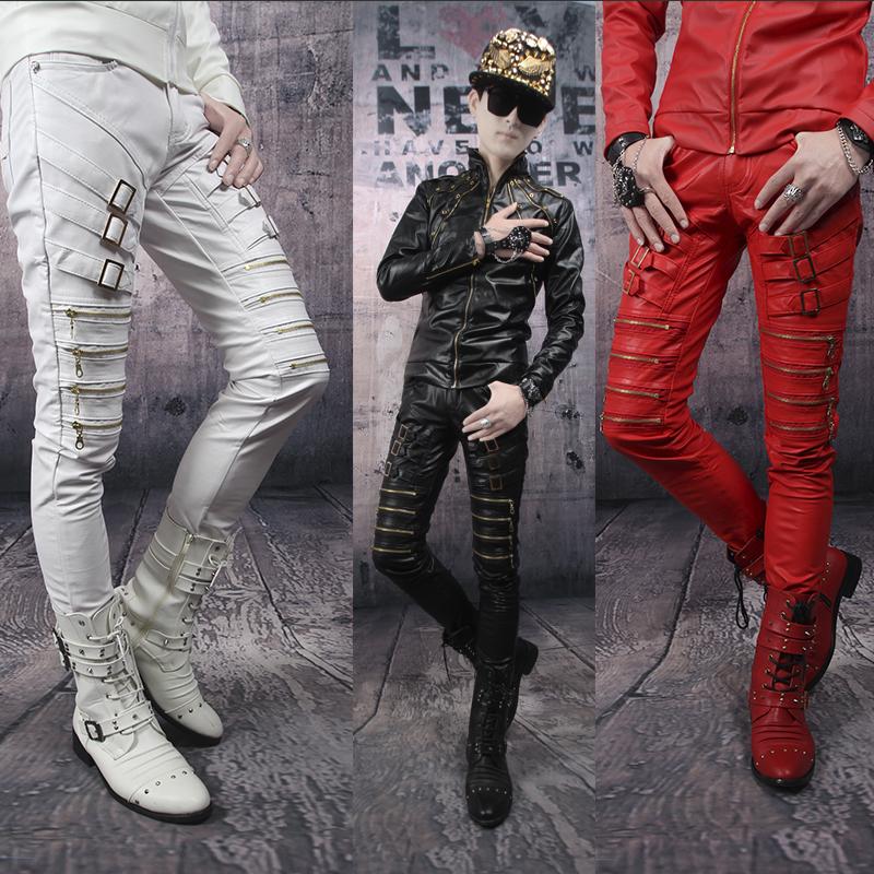 Autumn black red white zipper pants men leather pant slim mens 1 trousers pantalones hombre skinny joggers - Fashion clothes store wang