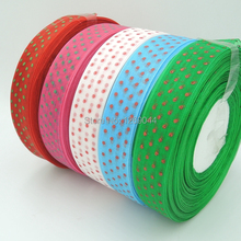 5Y Free shipping wholesale 1″ width mixed color dot printed organza ribbon
