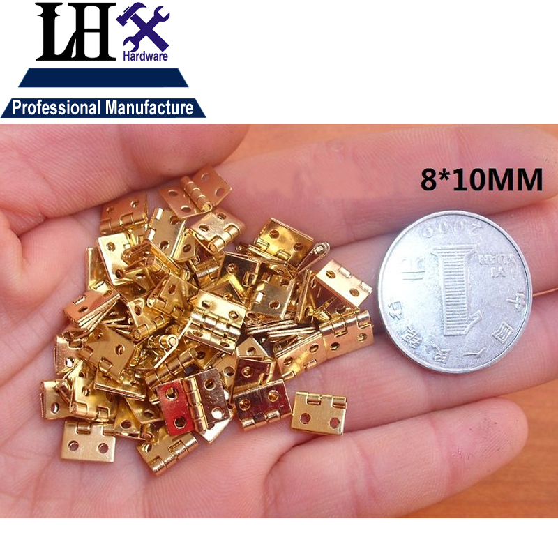 LHX PBYP97 100pcs/lot Brass Metal Special Design Silver Golden Jewelry Gift Box Cabinet Mini Hinge 4 Holes(China (Mainland))