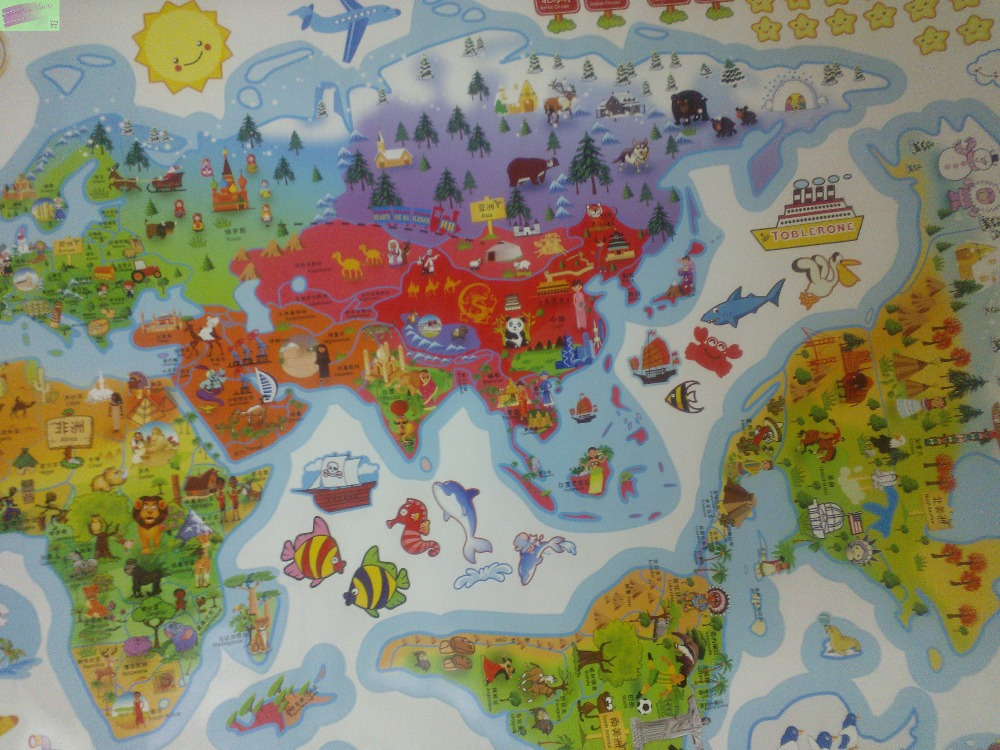 Large cartoon world map wall stickers for kids room for Home wallpaper world map