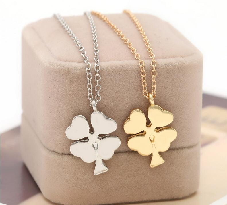 4 leaf clover grass Necklaces Pendants And Silver Plated Jewerly 2015 Necklace Women Cheap Fashion ebay Jewelry(China (Mainland))