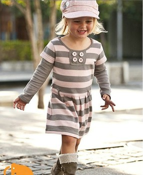 QZ-252,Free Shipping! top quality kid clothes girl pink striped long sleeve dress autumn children clothing Wholesale And Retail