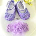 Kids little purple flowers Shoes Girl Princess Lace Headband Cute Infant Girl Toddler Shoes Set Newborn