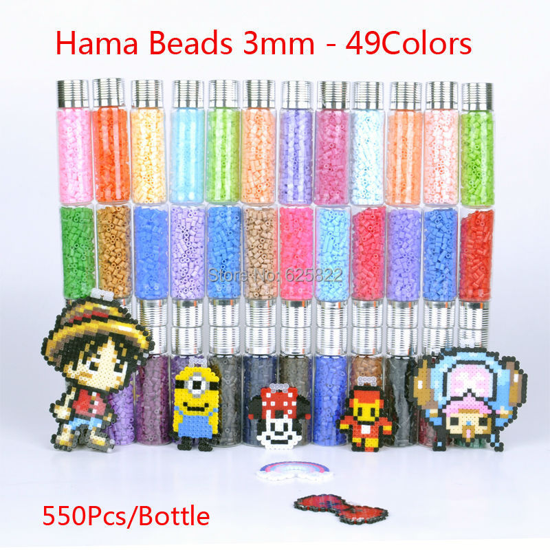 27,000 Beads 49 Colors 3mm Mini Hama Beads 550pcs/bottle/color (4 Template 8 Iron Paper 2 Tweezer) Fuse Beads Educational Toys<br><br>Aliexpress