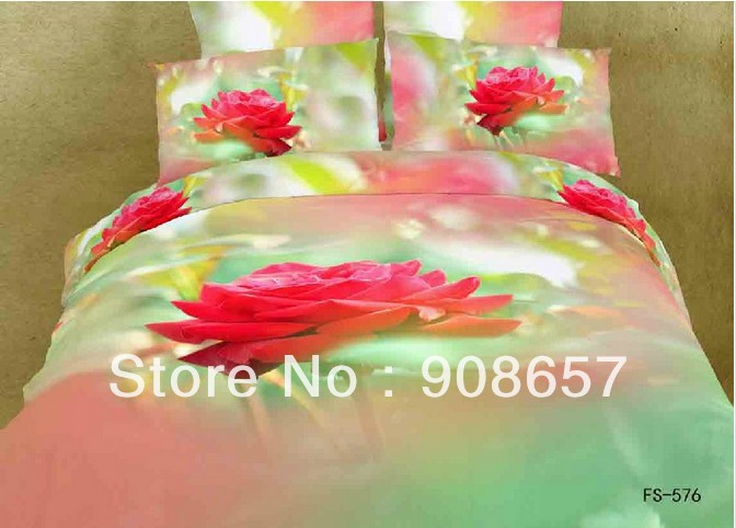 500TC cotton bedding red rose flower prints bed in a bag set oil painting quilt/duvet covers bed linens full queen comforter set(China (Mainland))