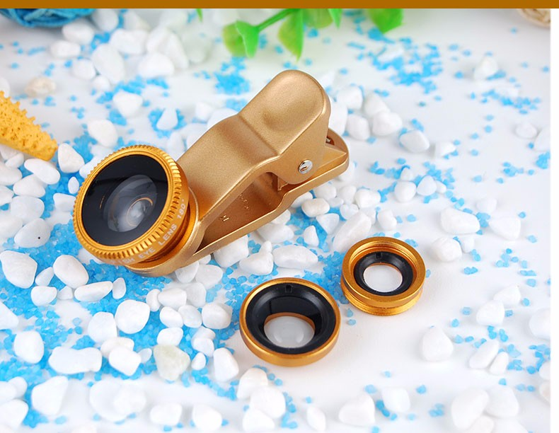 3 in 1 Mobile Phone Camera Lens Fish Eye lens, Wide Angle + Clear Macro Lens Universale Cell Phone Lens Camera Accessories Kit