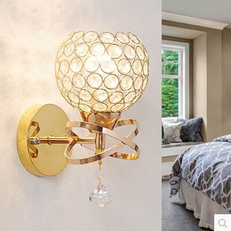 Led Decorative Wall Lamps : Decorative Bedside Bedroom LED Crystal Wall light Lamp Stair Lamp E27 LED Wall Lights Silver ...
