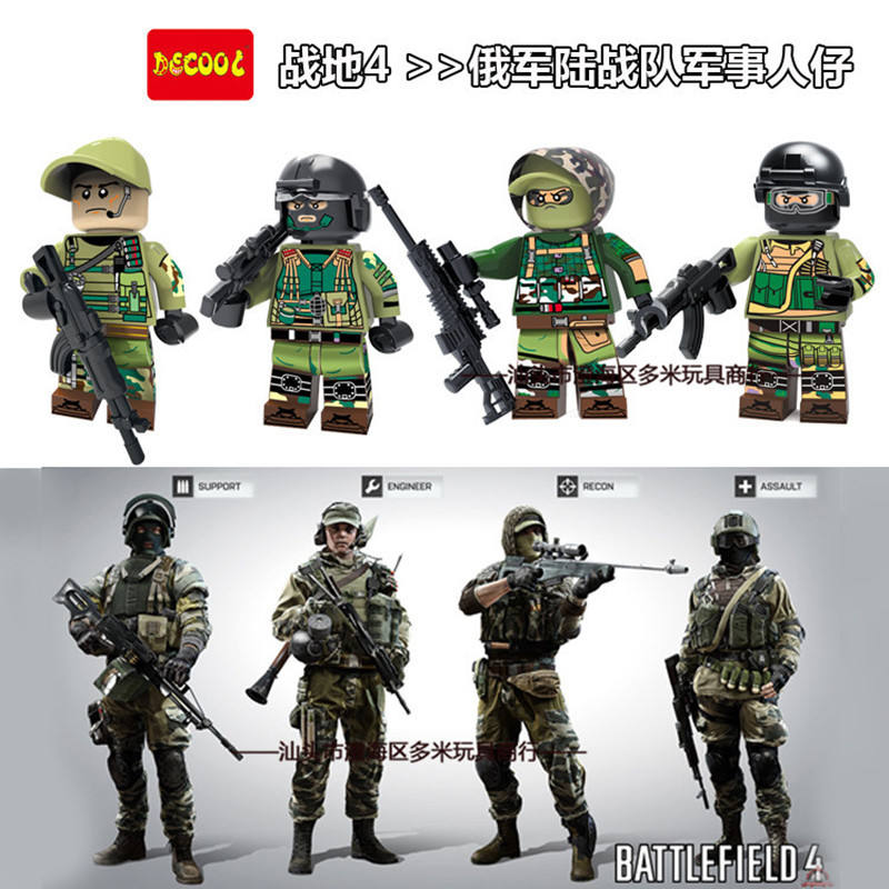 Decool Police Modern War Russian Recon Engineer Swat team Minifigures Compatible Legoes Blocks Army soldiers Guns Military - COASTLINE TOY store
