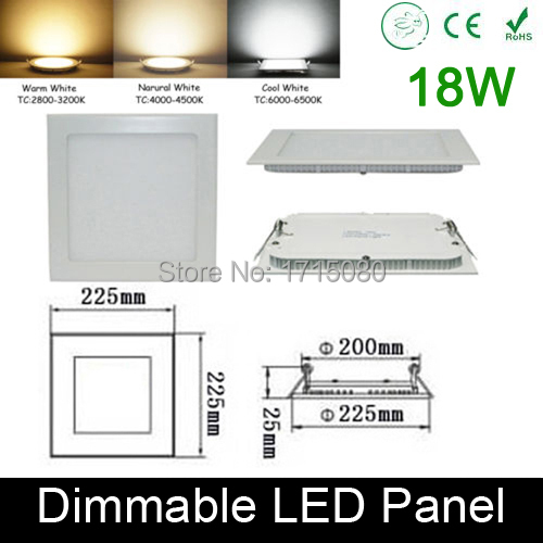 Thickness Dimmable 18W LED panel light flat square LED Recessed ceiling light 4000K for home luminaria lighting lamp(China (Mainland))