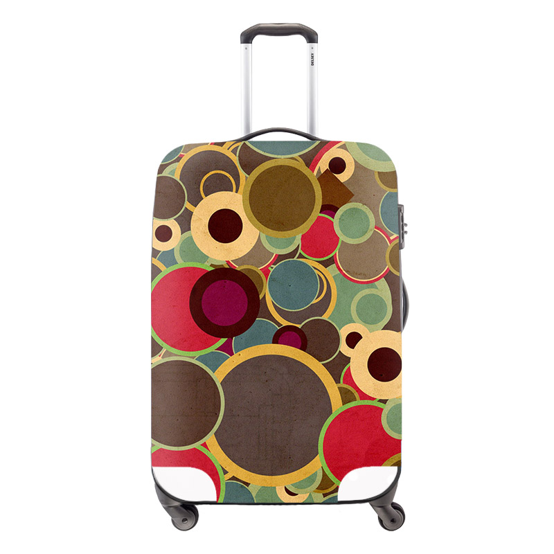 2016 Fashion Circles Print Protective Luggage Cover For 18-30 inch Trolley Case Elastic Waterproof Dust-proof Suitcase Cover(China (Mainland))