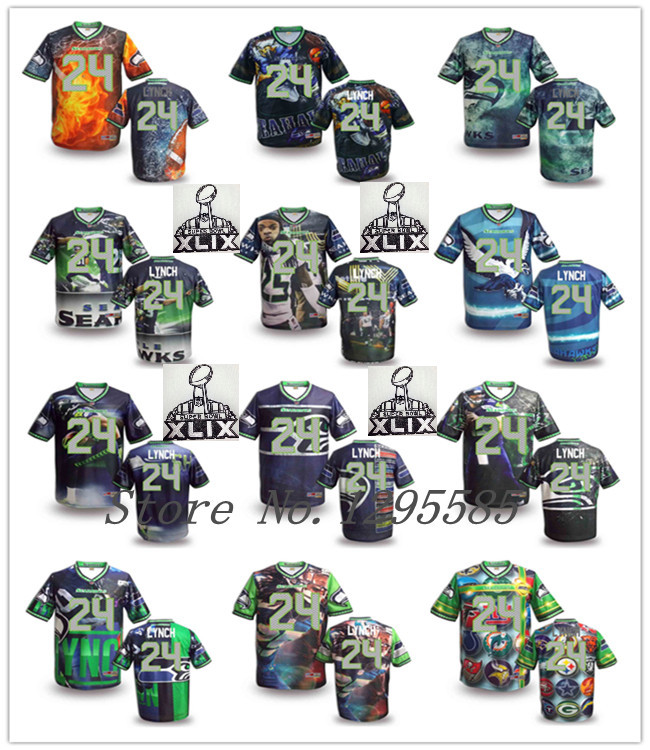 Free shipping 2015 Super Bowl XLIX patch Jersey #24 Xiaoen Lynch elite football jersey boutique Fever size S-6XL(China (Mainland))