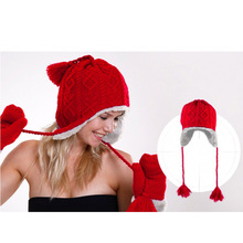 6 Colors 2016 New Warm Winter Women Knitted Hat Beret Braided Baggy Beanies Ski Wool Hat Girl Earflap Hat Toucas De Inverno(China (Mainland))