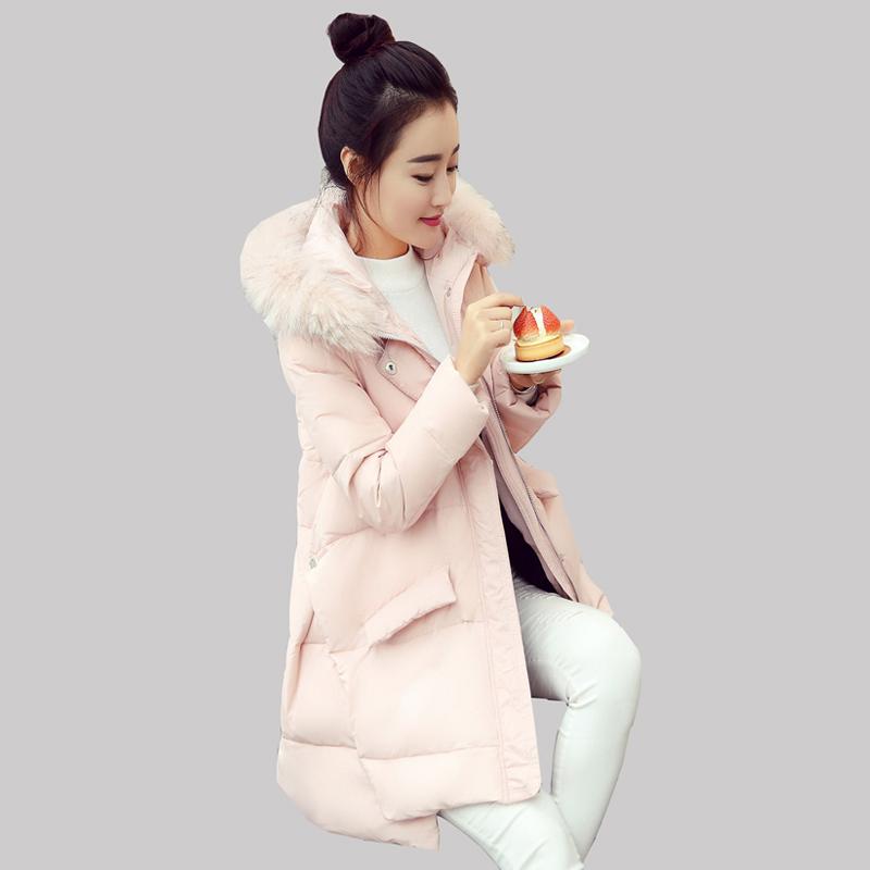 2016 Fashion Winter New Korean Women Long Coat Raccoon Fur Collar Hooded Duck Down Jacket Warm Parkas manteau femme JA189