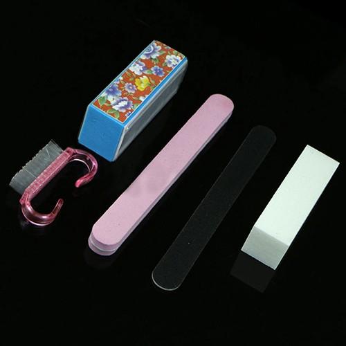 5X Pro Manicure Ferramentas Kit Retangular Prego Acessórios Da Arte Do Prego Conjunto de Arquivos Escova KIJ