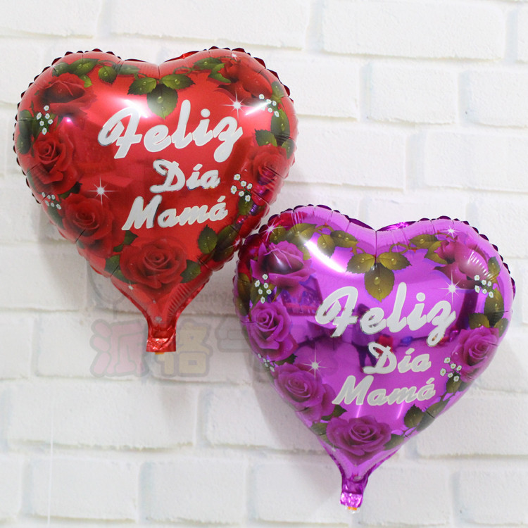 New arrival 20pcs/lot 18inch heart shape rose flower spanish mama balloon for happy mother's day foil helium balloon(China (Mainland))